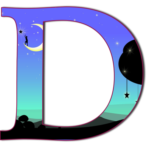 the letter d filled with fantasy image of reaching for the stars from the moon