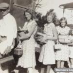 My dad and his sisters as they prepare to board the school bus. Kosciusko County, Indiana, circa 1930